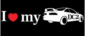I Love Heart My Honda Integra DC2 Decal Die Cut