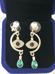 1601adeedc192 Details about Made w/ SWAROVSKI SYMBOLIC EVIL EYE PIERCED EARRINGS,  MULTI-COLORED, ROSE GOLD