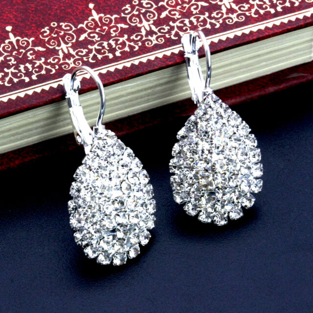 Lady Silver Plated Women Girl Crystal Rhinestone Earrings Ear Stud Jewelry New