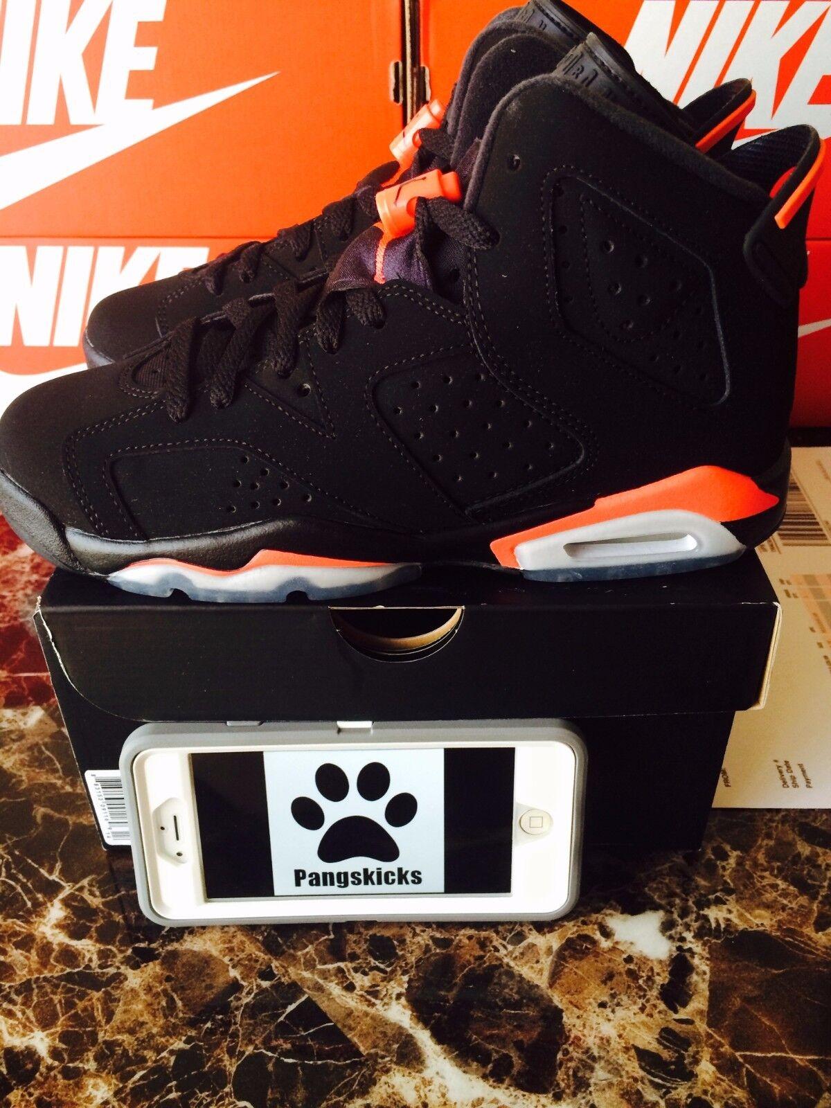 Nike Air Jordan 6 Retro Black Infrared 384665-023 GS Size 7Y = Women's 8.5