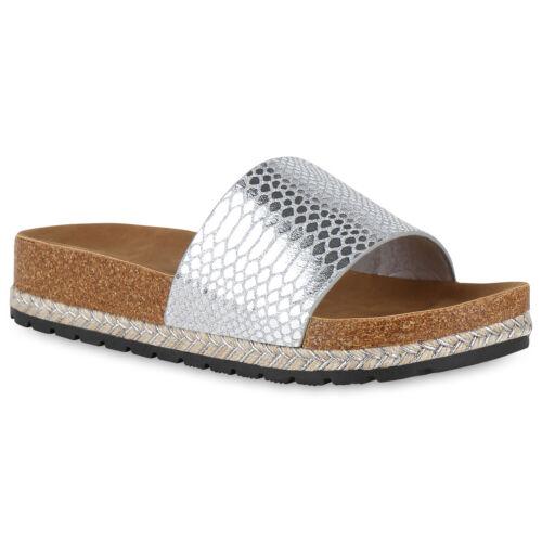 Damen Sandaletten Plateau Pantoletten Metallic Sommer Sandalen 826006 Schuhe