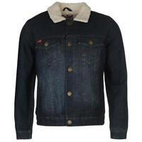 Lee Cooper Lined Denim Jacket Mens Jersey Long Sleeves All Sizes S- Xxl