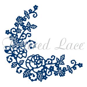 3.19x3.11 TTLD1333 ~ NIP Tattered Lace Dies ~ Delicate Rose Corner