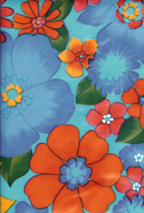 Oilcloth Fabric Tropical London Light Blue Pattern Sold in Yard or Bolt