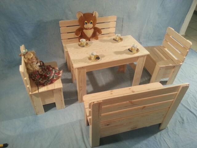 Kinder Sitzgruppe Kindertisch Kinderstuhl Natur Massivholz Kiefer UnbehandeltNeu