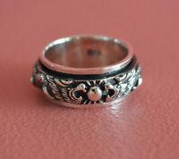 925 Sterling Silver Men Dragon Spinning Wedding Ring Band, Dragon Spinning Ring