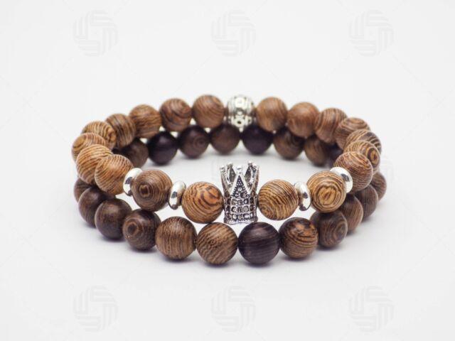 King Crown Bracelet Sandalwood Wooden Warrior Viking Healing Beads Gift Uk
