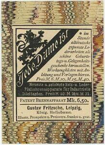 ANTIQUE-GERMAN-ACEO-SIZE-LEATHER-VENDOR-LION-DESIGN-ADVERTISEMENT-OLD-ART-PRINT