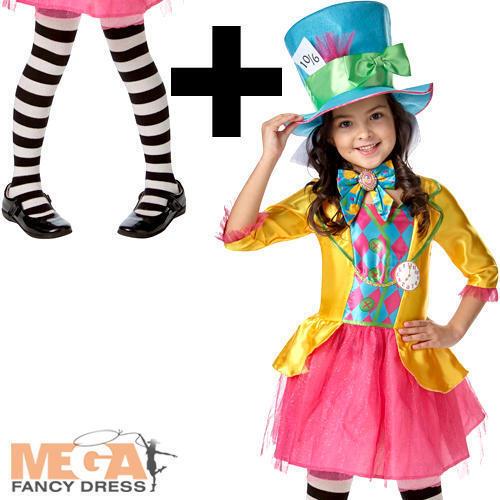 Mad Hatter Tights Girls Fancy Dress World Book Day Childrens Disney Costume
