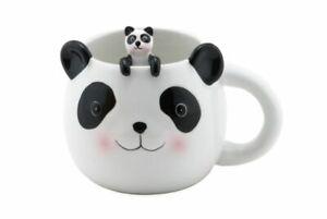 Cute Animal Novelty Ceramic Coffee Tea Mug w/ Matching Spoon 16 oz (Cute Panda)