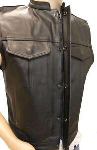 Men's Leather Motorcycle Biker Vest (concealed carry for firearms)