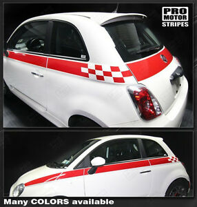Fiat 500 Checkered Rocker Panel Side Stripes Decals 2012 2013 2014 2015 Pro Moto