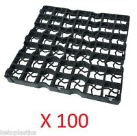 100 X Black Plastic Paving Driveway Grid Turf/ Grass/ Gravel Protectors Uk Made
