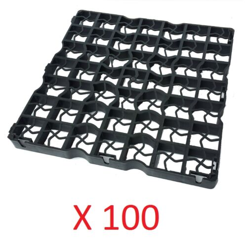 100 X BLACK PLASTIC PAVING DRIVEWAY GRID TURF GRASS GRAVEL PROTECTORS UK MADE