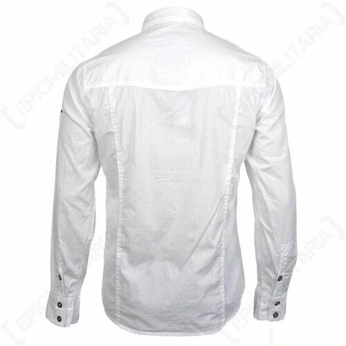 Brandit Slim Fit Shirt White Smart Casual Top Summer Cotton Long Sleeves