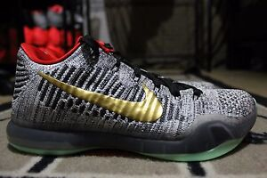 13164f01d901 NEW Nike iD Kobe 10 X Elite Flyknit SZ 8 Black White Grey Glow in ...