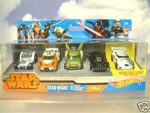 5-PACK-MATELL-HOT-WHEELS-STAR-WARS-R2D2-Yoda-Darth-Vader-Skywalker