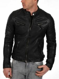 Men/'s Slim Fit Biker Motorcycle Style Retro Black Leather Jacket //UK Seller