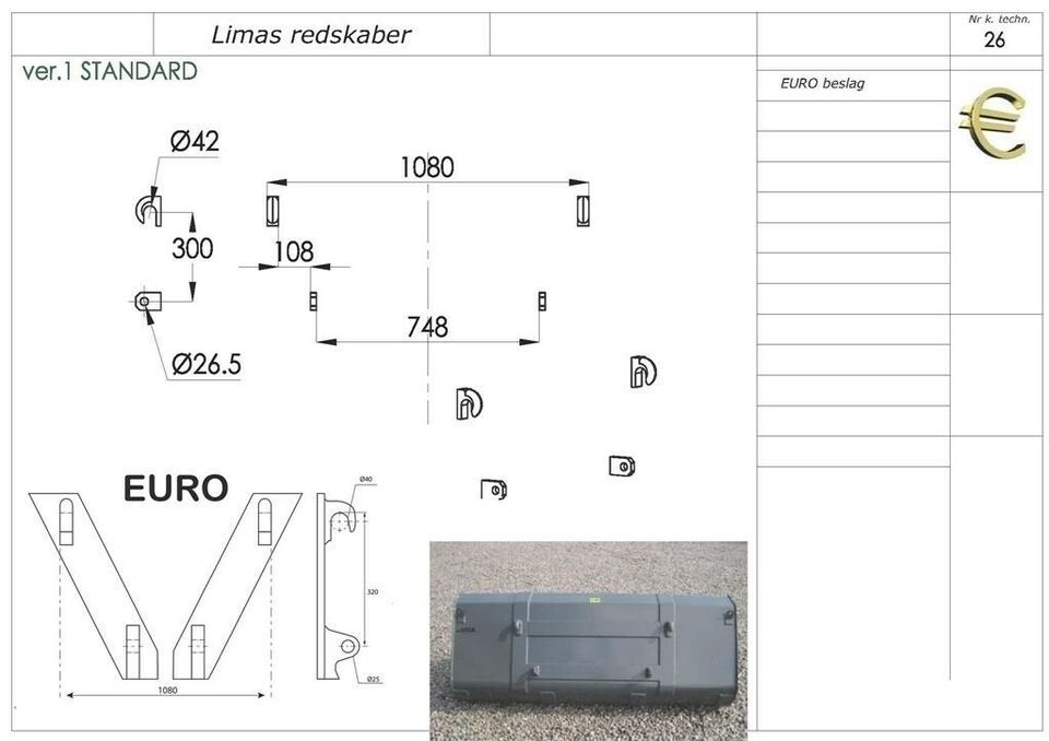 Frontlæsser, Ny 2,4m Alm. skovl med Euro
