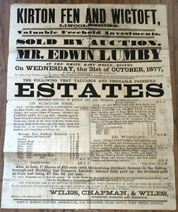 Estates Auction Broadside Kirton Fen Wigtoft Uk October 1877 Ebay