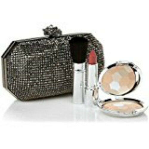 Real Collectibles by Adrienne Jeweled Evening Bag + Powder, Lipstick, (Gray)