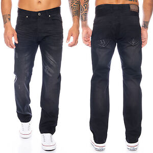 Rock-Creek-Herren-Jeans-Hose-Denim-Schwarz-Straight-Cut-Gerades-Bein-LL-322
