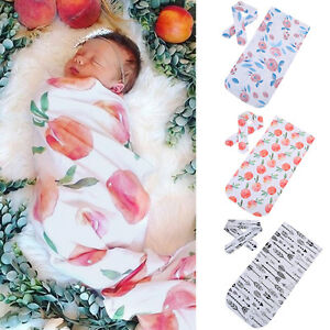 Newborn-Infant-Baby-Swaddle-Blanket-Baby-Sleeping-Swaddle-Muslin-Wrap-Headband