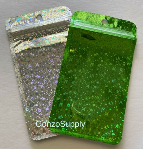 Details about  /400PC 3.5x5 Hologram Green Clear Ziplock Mylar Bags-Crafts Food Gift Store Toys