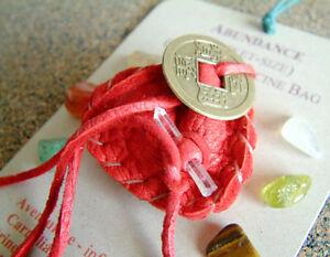 ABUNDANCE CRYSTAL MEDICINE BAG Pocket Size Deer Leather Pouch w Reiki Gemstones