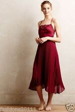 New Anthropologie Pleated Midi Chemise by Eloise Size Medium M Red