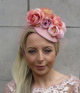 fbf20069ce3ba Blush Nude Light Pink Rose Birdcage Veil Flower Hair Fascinator Hat ...