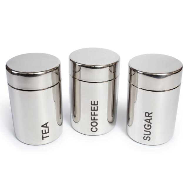 Ehc Set Of 3 Square Tea Sugar And, Coffee Storage Containers