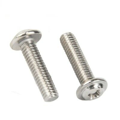 5 Pcs M6x60mm 316 Stainless Steel Fully Thread Phillips Pan Head Machine Screws