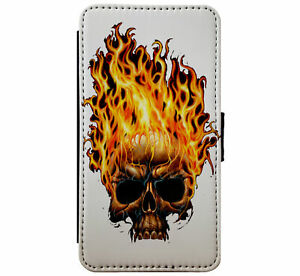 Flaming-Skull-Fire-Goth-Metal-Emo-Leather-Phone-case-wallet-for-iPhone-amp-Samsung