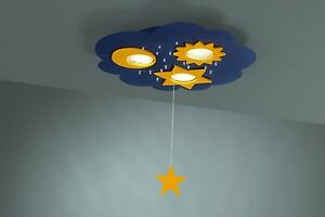 Moon stars childrens flush ceiling light with pull chord for image is loading moon amp stars children 039 s flush ceiling mozeypictures Gallery