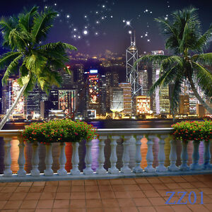 City Night View Vinyl Photography Backdrop Background Studio Props 10x10ft ZZ01