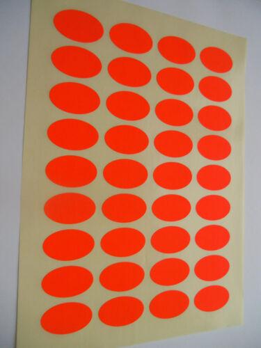 144 Klebe Etiketten Aufkleber Leuchtrot OVAL 40,6 mm x 25,4 mm 4 Bogen Druckvor