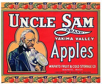 Uncle Sam Brand Yakima Valley Washington Vintage Matted Original 1920/'s Apple Crate Label