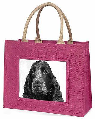 Blue Roan Cocker Spaniel Hund Große Rosa Einkaufstasche Weihnachten Prese,