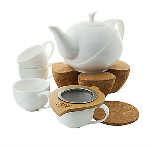 teeservice teekanne teetassen tassen porzellan teeset teesieb kork st vchen 7tlg ebay. Black Bedroom Furniture Sets. Home Design Ideas