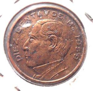 CIRCULATED 1959 10 CENTAVOS MEXICAN COIN!  (62815)