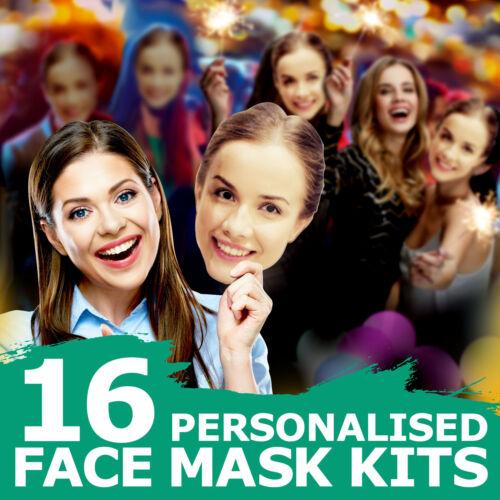 16 personnalisé visage masque ensembles Accessoire pour anniversaire Stag Enterrement Vie Jeune Fille Soirée 1