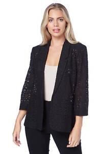 Roman-Originals-Women-039-s-Blue-Floral-Lace-Jacket-Sizes-10-20