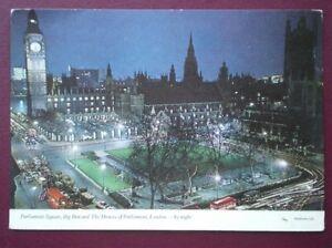 POSTCARD-LONDON-PARLIAMENT-SQUARE-BIG-BEN-amp-HOUSES-OF-PARLIAMENT-AT-NIGHT