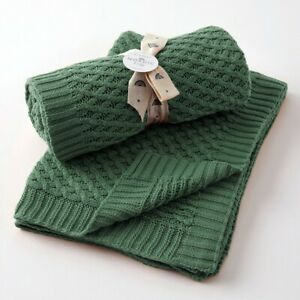 Jiggle & Giggle 100% Cotton Forest Green Basket Weave Knit Baby Blanket