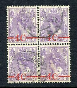 Nederland-nvph-106-met-PLAATFOUT-034-rode-streepje-voor-4-034-gebruikt-in-blok-van-4