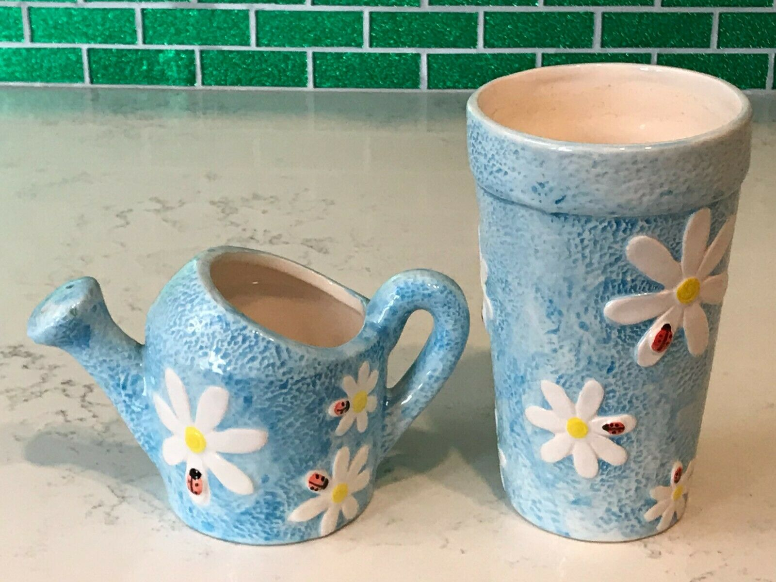 Set of 2 Vintage Ceramic Watering Cans Decorated with Daisies & Lady Bugs
