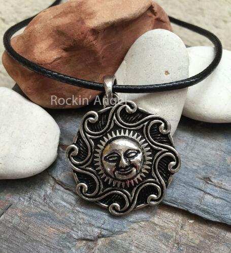 Antique Silver Plt Celestial Sun Pendant Necklace Celtic Pagan Wiccan Gift