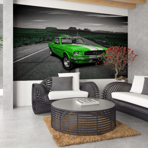 Fototapete Vlies Tapete Motorisierung Sportwagen legendärer grüner Ford Mustang