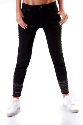 10898 mozzaar Donna Jeans Slimfit ricamo Boho-Style alla caviglia LUNGO OVERSIZE